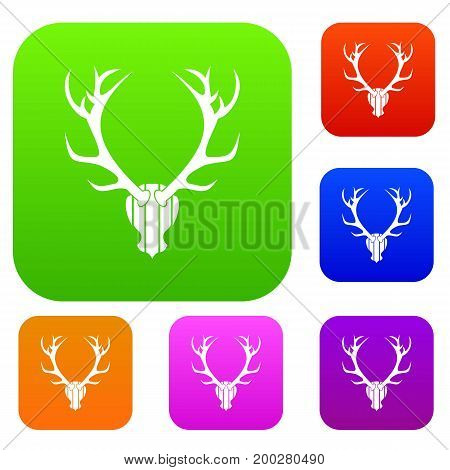 Deer antler set icon in different colors isolated vector illustration. Premium collection