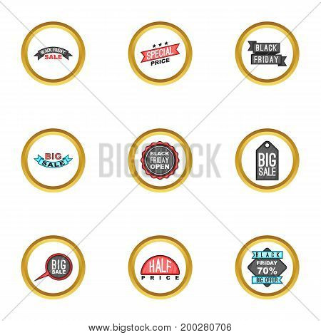 Black friday icons set. Cartoon illustration of 9 black friday vector icons for web design