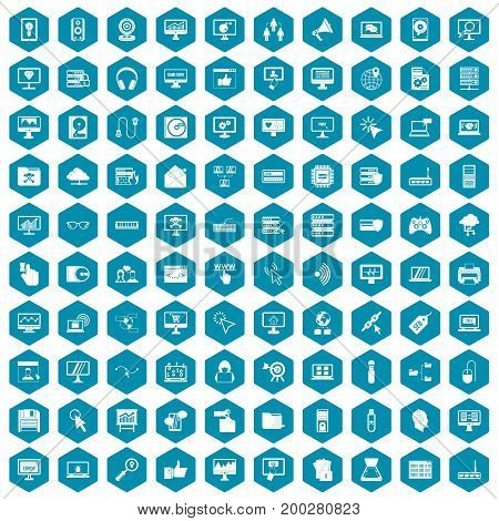 100 computer icons set in sapphirine hexagon isolated vector illustration