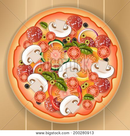 Pizza mushrooms tomato onion olives bell pepper basil