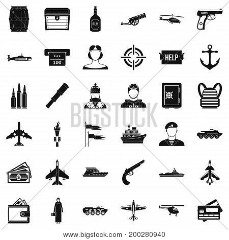 Combat gun icons set. Simple style of 36 combat gun vector icons for web isolated on white background