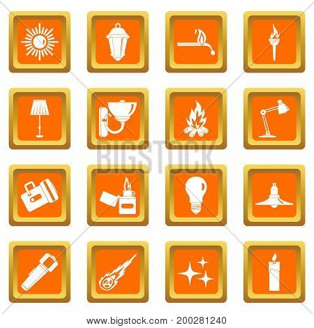 Light source symbols icons set in orange color isolated vector illustration for web and any design