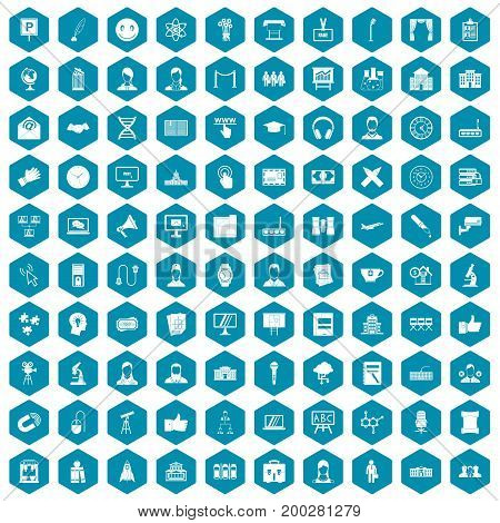 100 conference icons set in sapphirine hexagon isolated vector illustration