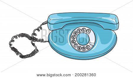 blue rotary dial phone Vintage telephones Retro hand drawn vector art illustration