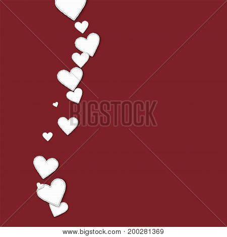 Cutout Paper Hearts. Left Wave On Wine Red Background. Vector Illustration.