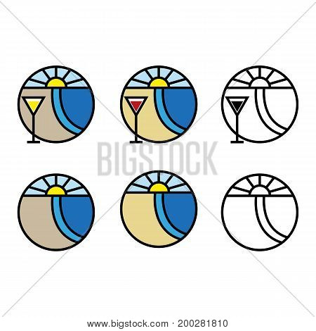 A set of beach and cocktail icons