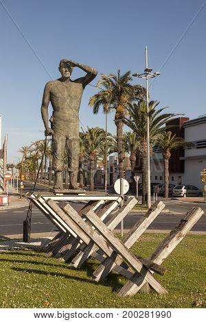 Huelva Spain - June 4 2017: Statue in the city of Huelva. Andalusia Spain