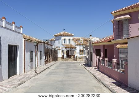 Street in the spanish town Fuente de Piedra. Province of Malaga Andalusia Spain