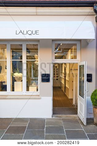 PARIS FRANCE - MAY 10 2017 : Lalique boutique in La Vallee Village. Lalique is a French glassmaker founded by renowned glassmaker and jeweller Rene Lalique in 1888