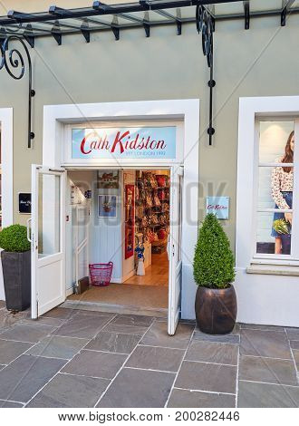 PARIS FRANCE - MAY 10 2017 : Cath Kidston boutique in La Vallee Village. Cath Kidston is a distinctive British lifestyle brand best known for its witty vintage inspired prints