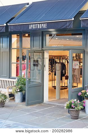 PARIS FRANCE - MAY 10 2017 : Apostrophe boutique in La Vallee Village