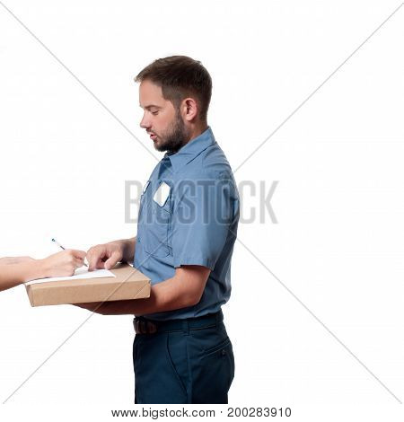 Delivery Man Handing Parcel Box To Recipient - Courier Service Concept