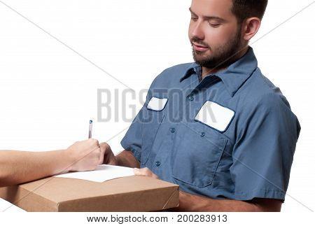 Delivery Man Handing Parcel Box To Recipient - Courier Service Concept