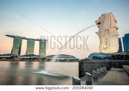 SINGAPORE - 10 SEPTEMBER 2016 : The Merlion statue fountain in Singapore. The landmark statue is considered the personification of Singapore.