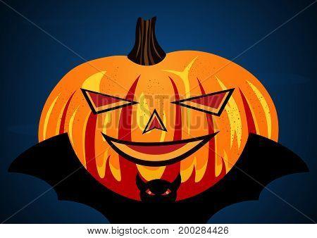 Halloween festival and celebration abstract background pumpkin on flying bat vector illustration.