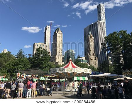 NEW YORK, NY - JUN 3: Victorian Gardens at Wollman Rink in Central Park in New York City, as seen on Jun 3, 2017. It is a seasonal traditional-style amusement park.