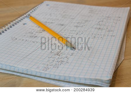 Math Notebook Messy Handwriting With Yellow Pencil