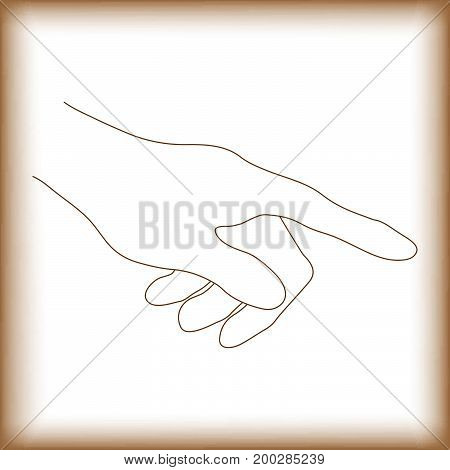abstract background; touch point hand and old vintage paper with copy space vector illustration.