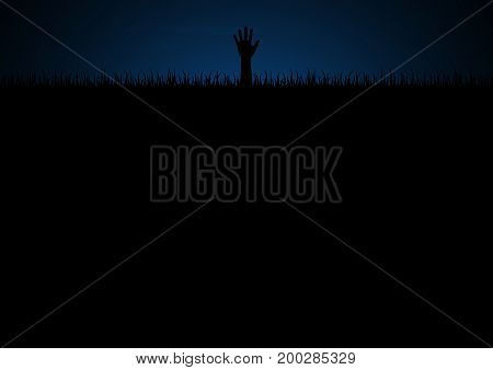 Halloween festival and celebration abstract background zombie hand on graveyard grass with copy space vector illustration.
