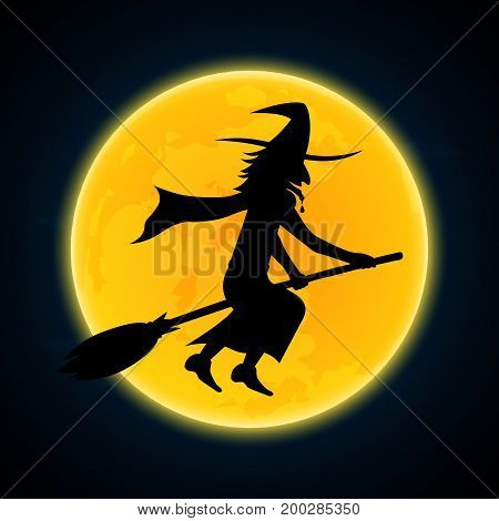 Halloween festival and celebration abstract background witch flying on broom with moon vector illustration.