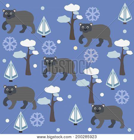 Seamless pattern of brown bear, pine tree and spruce, blue background. Vector Illustration. Winter/Merry Christmas Collection  abstractartbabybackgroundbearbeautifulcelebrationchildishchildrenchristmascopsecutedecordesigndreamselementfairy talefantasyfaun