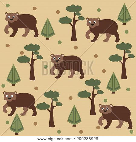 Seamless pattern of brown bear, pine tree and spruce, brown background. Vector Illustration. Summer/Fall Collection