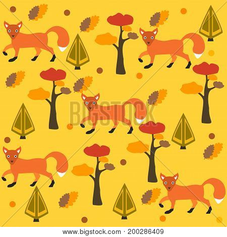 Seamless pattern of orange fox, pine tree and spruce, yellow background. Vector Illustration. Autumn/Fall Collection