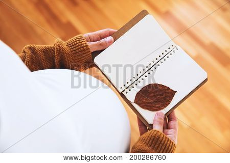 Pregnant woman makes notes in notebook. Young mother anticipation of the baby. Image of pregnancy and maternity. Close-up copy space indoors.