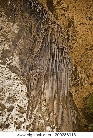 Draperies in the caves of Carlsbad Caverns,  New Mexico