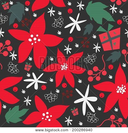 Seamless floral pattern of hand drawn poinsettia, berries, leafs, snowflakes. Winter/Fall/Merry Christmas Collection. Great For backgrounds, wrapping paper, prints, wallpaper, cards, textiles, etc