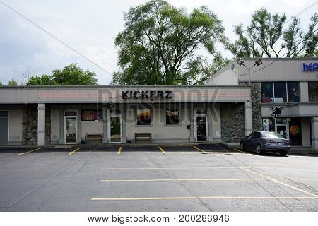 CREST HILL, ILLINOIS / UNITED STATES - JULY 19, 2017: One may drink beer and gamble at Kickerz, in the Key Plaza on Plainfield Road.