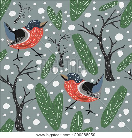 Winter Seamless Pattern With Bullfinch Bird. Seamless Bird Pattern. Bullfinches, spruce, berries, fir and trees.Vector Illustration. Winter/Merry Christmas Collection. Red Bird Pattern. Modern Design