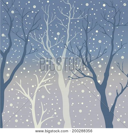 Winter Trees Background. Winter landscape with trees, snow. Snow In Forest. Vector Illustration. Season Nature.