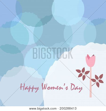 Happy Woman's Day Card. Day Card poster with cute flower of Rose in pastel colors of blue. Modern, delicate design.Vector Illustration. Vintage Style