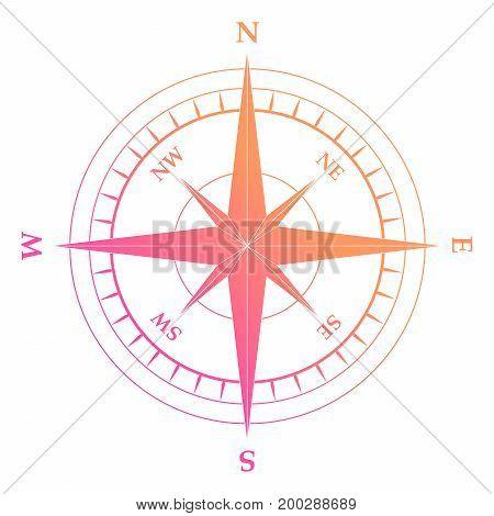 Vector Gradient Pink And Orange Nautical Compass Equipment Symbol
