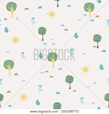 Simple Summer Seamless Pattern with trees, sun, drops of rain, flowers, berries