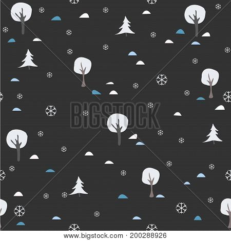 Seamless Winter Pattern. Winter/Merry Christmas Collection. Vector Illustration