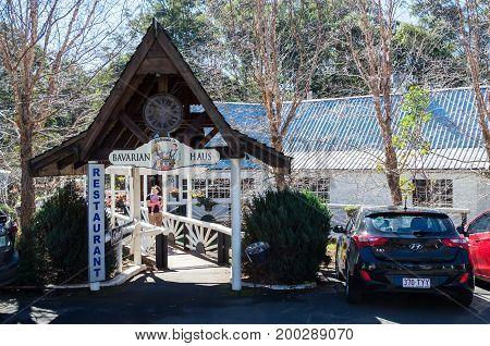 Mt Tamborine, Australia - July 8, 2017: Bavarian Grill Haus, a German restaurant on Mt Tamborine in the Gold Coast hinterland.