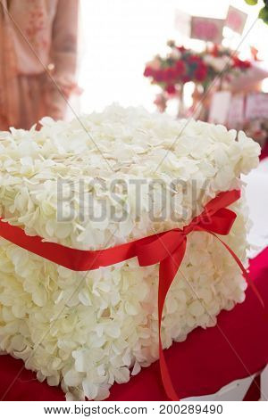 Box for money such as present from guests at wedding party decoration box with white flower