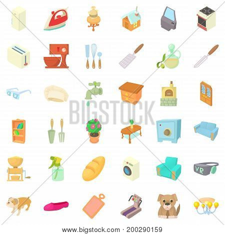Sweet home icons set. Cartoon style of 36 sweet home vector icons for web isolated on white background
