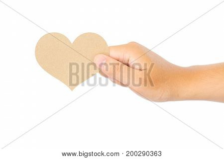 close up of a hand holding blank crumpled note isolated on white background