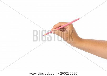 Men hand holding pink pencil on isolated white background