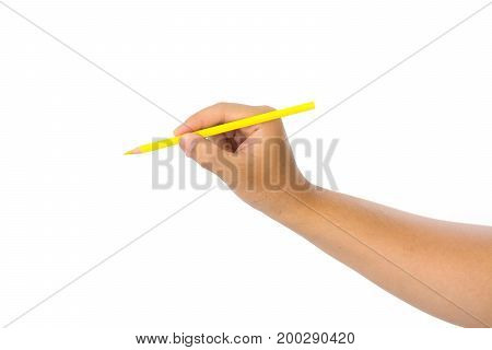 Men hand holding yellow pencil on isolated white background