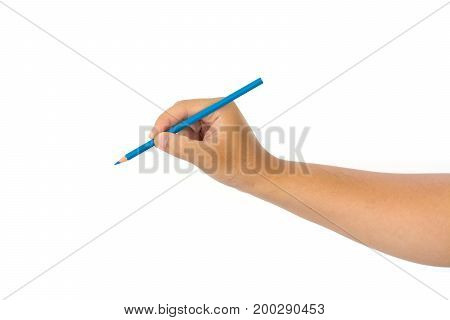 Men hand holding blue pencil on isolated white background