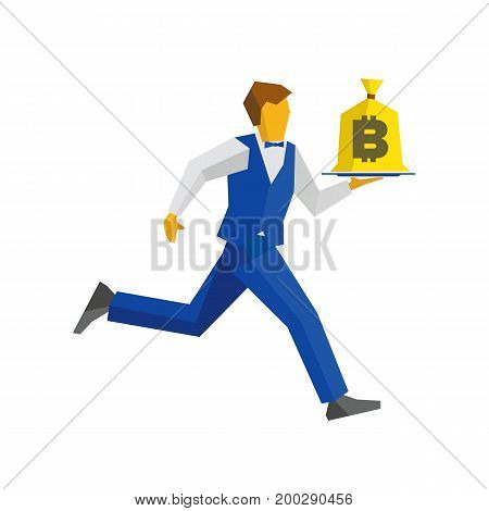 Waiter in blue vest and trousers runs with a money bag on a tray. Bitcoin sign on a bagful. Business concept - easy money, cash in any time. Simple flat style vector clip art.