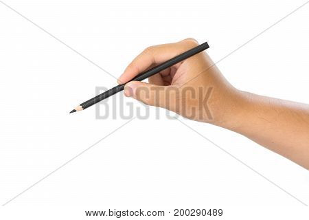 Men hand holding black pencil on isolated white background