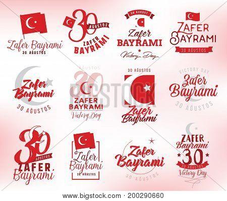 30 August, Turkey Victory Day, Zafer Baryami. Typography design set. Translation - 30 August, Victory Day of Turkey.
