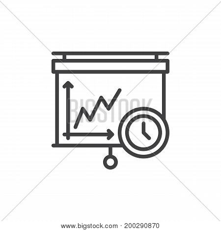 Pull down projector Screen and clock line icon, outline vector sign, linear style pictogram isolated on white. Time management symbol, logo illustration. Editable stroke. Pixel perfect vector graphics