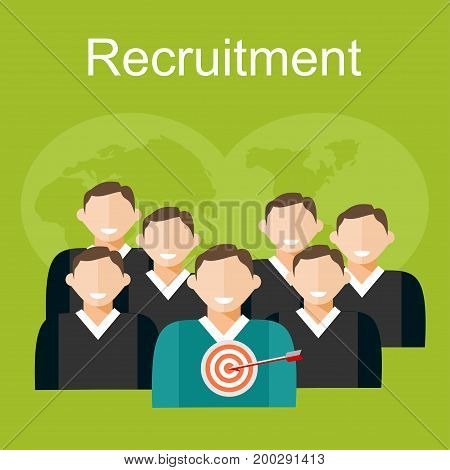 Recruitment illustration. Flat design illustration concepts for human resources finding employee recruit candidate.