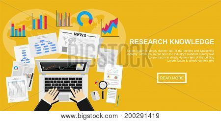 Flat design illustration concept for market analysis, business plan, investment marketing, reporting management, market research.